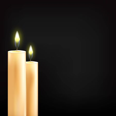 illustration of beautiful glowing candles with melted wax Imagens - 137729224