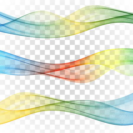 Set of abstract banners colored waves Set wave