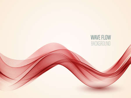 Abstract vector red wave on background Red wave flow