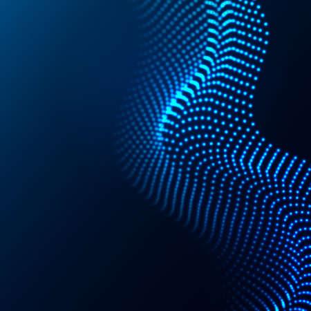Beautiful wave shaped array of glowing dots.Abstract vector design element. Vektoros illusztráció