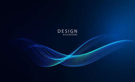 Blue wave design element on dark background. Science or technology design Blue wave flow Vektoros illusztráció