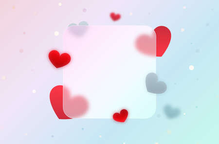 Festive banner with red abstract hearts.Glassmorphism effect.