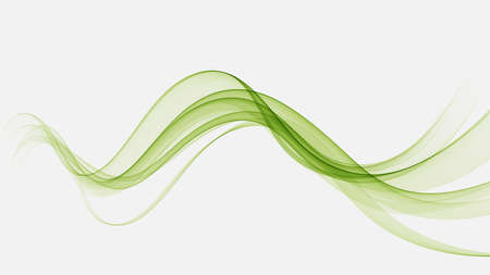 Abstract green wavy lines. Color vector background. Smoke transparent green wave