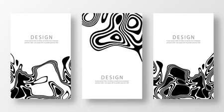 Cover Templates Set Liquid Black White Background Design Template Vector