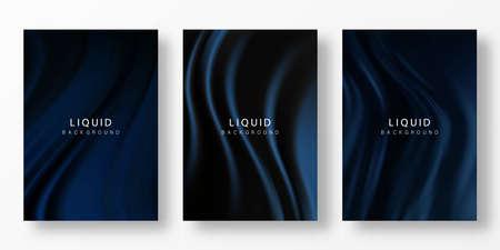 Blue wavy background color splash on black background, elegant design