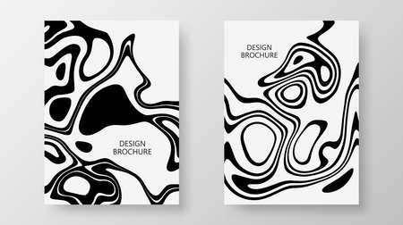 Cover templates Set liquid black white background Design vector template