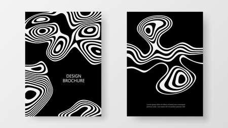 Cover templates Set liquid white wave Design vector template, black background 矢量图像
