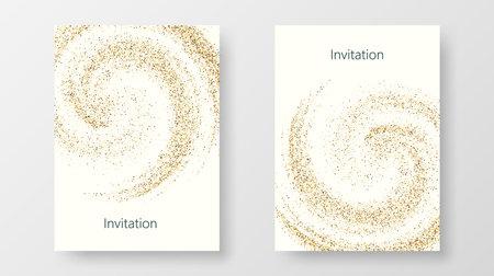 Template design of invitation with gold sequin.Festive design postcards,invitations,brochures Vector