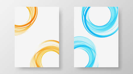 Set of minimal abstract circle wave on white background for brochure, flyer, poster, leaflet, annual report, book cover, Design template