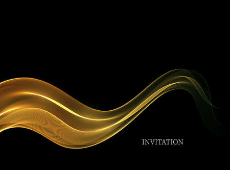 Abstract smooth shiny color golden wave design element with gold glitters effect on black background.Gold wave flow