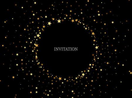 Festive background frame gold glitter Circle shape and star.Gold glitters background black