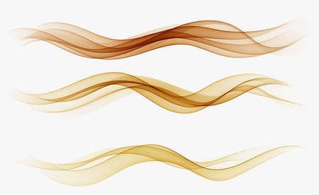 Golden wave,abstract wave background. Set flow wave 矢量图像