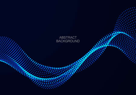 Abstract blue background. Big data. Abstract blue wave flow from particles.Vector technology,science background.