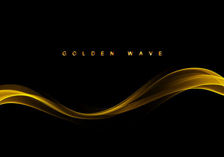 Abstract golden stripe on black background Shiny golden wave with glow and glitter effect.Vector illustration Illustration
