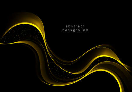 Abstract golden stripe on black background Shiny golden wave with glow and glitter effect.Vector illustration