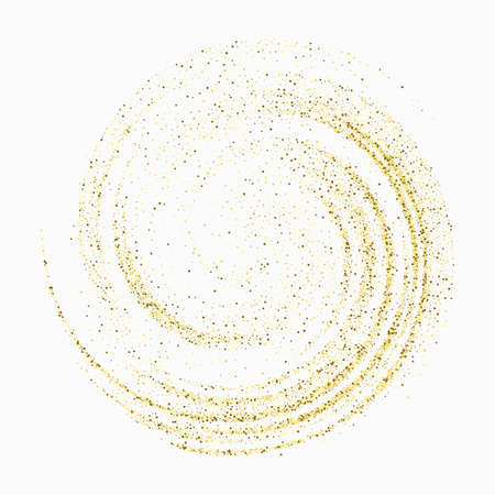 Gold confetti glitters on a white background. Swirl of sparkling particles Spreading texture. Decorative element for design Иллюстрация