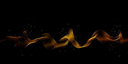 Gold color wave on black background Abstract stream of wavy lines with gold glitter particles Gold wave flow