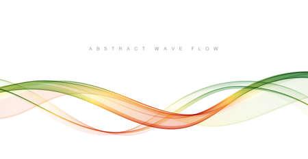 Abstract green wavy lines. Green vector background smoke Transparent wave Иллюстрация