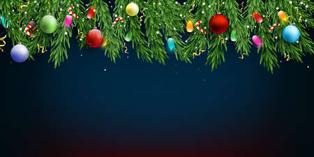 Christmas and New Year blue vector background with fir branches, candies, garlands, golden serpentine and falling snow.