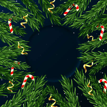 Christmas background with realistic pine branches, sweets, serpentine, Christmas and New Year card, poster, banner, invitation, poster.