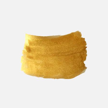Vector gold color brush spot. Abstract gold glittering textured brush stroke. Gold foil illustration.