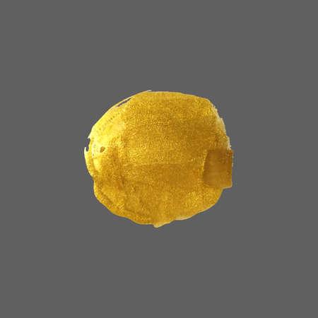 Round brush spot of gold color. Abstract gold glittering textured brush stroke. Abstract gold glittering art illustration. Иллюстрация