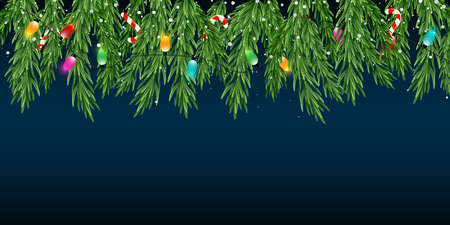 Christmas and New Year blue background with fir branches, sweets, garlands and falling snow.Vector background Иллюстрация