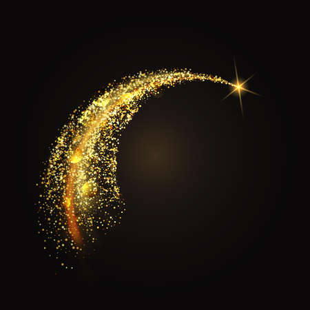 Glittering gold dust tail. Twinkling glitter wave Vector background Иллюстрация