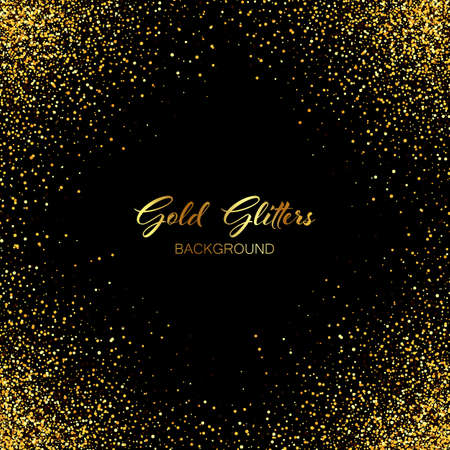 Gold glitters on a black background. Abstract shiny textured background for poster, invitation, poster, gift, christmas card, design element.