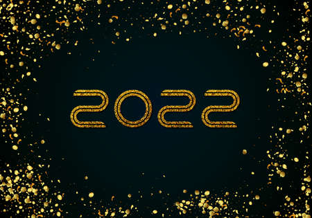 Winter holiday, Christmas greetings. Holiday card, luxury postcard concept. Golden number 2022 with shiny gold tinsel