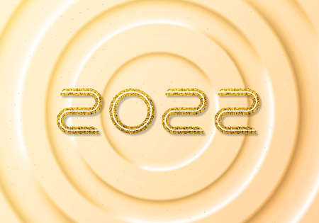 New Year and Christmas Holiday card with golden number 2022.Vector illustration
