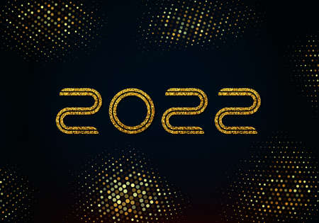 Happy new year 2022 golden shining numbers on black background. Party poster, banner or invitation, decoration with gold glitter.Gold glitters background