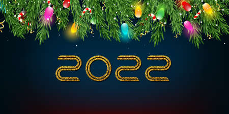 Christmas and New Year 2022 blue vector background with fir branches, candies, garlands, golden serpentine and falling snow.
