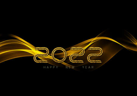 Christmas and New Year 2022 golden waves vector background. Swirl of golden waves with golden sparkles on black background.Vector