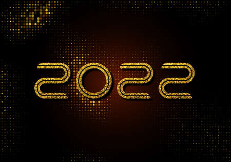 New Year 2022 gold glittering sparkles on black background with the number 2022 made from gold glittering circles.