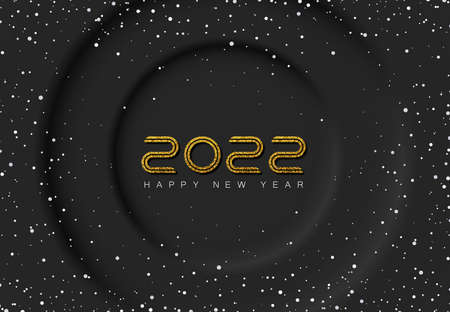 Minimalistic dark abstract background with dark circles. Exclusive design holiday winter greeting card or invitation background with falling snow and golden glittering numbers 2022. Фото со стока