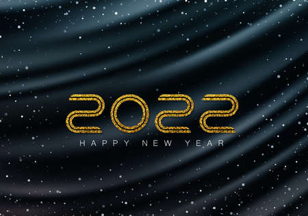 Luxurious dark wavy background with falling snow and numbers 2022. Gold glitters 2022. Winter holiday background. Иллюстрация