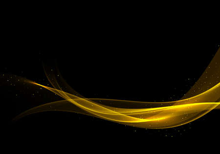 Wave of golden color on a black background Abstract stream of wavy lines with particles of golden glitter Stream of golden smoky transparent wave
