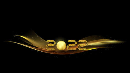 2022 golden waves vector background. Swirl of golden waves with golden sparkles on black background.