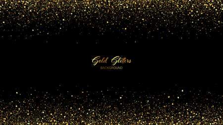Abstract vector black background with gold glitter confetti. Luxury festive background. Иллюстрация