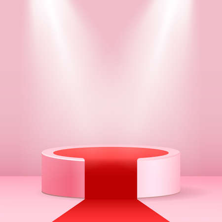 Pink round podium. Pedestal in pastel room with red carpet and glowing spotlights.Vector illustration.
