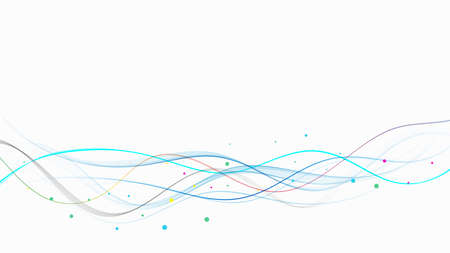 Abstract spectrum lines on a white background. Colorful shiny wave with lines, curved wavy line, smooth stripe. Design element.