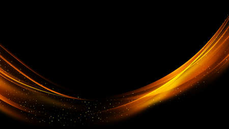 Golden shiny wave element on black background. Abstract stream of golden lines with glitter. Illustration