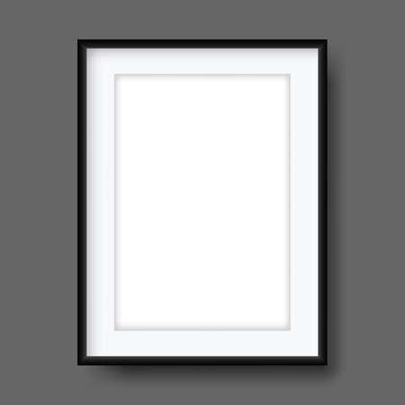 Black vector 3d photo frame.Vector object for interior design and web design. Illustration