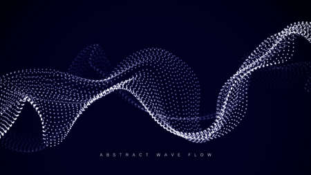 Wave array of shining dots. Wave of dynamic particles flows through the darkness. Dotted curves vector abstract background.