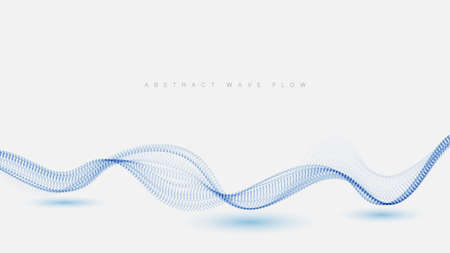 Abstract dots particles flowing wavy blue on a white background. Vector illustration design elements
