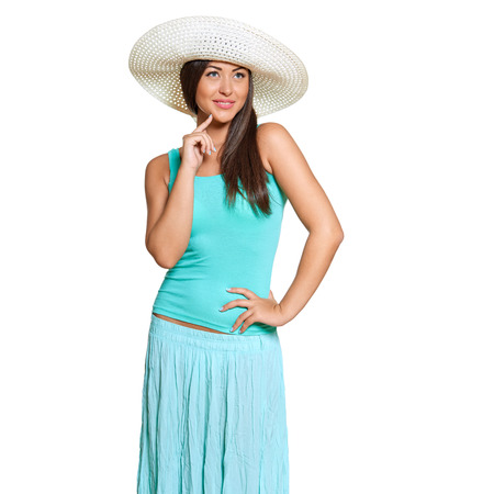 gratified: Smiling young sun-tanned woman in  tshirt and straw hat  looking out of frame isolated on white background