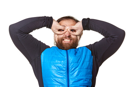 funny bearded man: funny bearded stout man  wearing jeans and blue sweater, shows emotions and gesture like pilot  looking at the camera, isolated on a white background