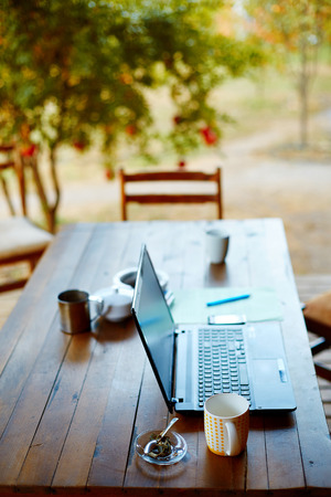 Laptop computer, phone and coffee in the garden - freelance or remote work concept. small depth of field. Focus on the cup Stock Photo