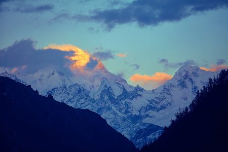 snow capped mountains: Snow capped mountains. Himalaya, Nepal. Trek around Annapurna mount Stock Photo